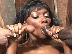 Sexy black chick fondles two sticks. Nyomi Banxxx