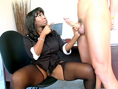 Sexy ebony black secretary girl meet white guy then got fucked