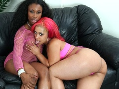 Sexy ebony slut licking her black girlfriends tight hole. Pinky and Jade