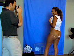Shy ebony girl Kiki Hawian have her first photo session and her round butt immediately attracted..