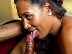 Thick Black tgirl Chastity Kane gets her ass serviced