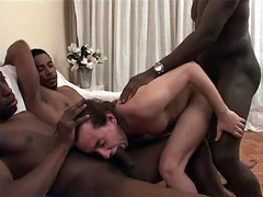 Tough oral decision. Three horny darkies fuck white men