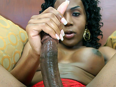 Tracey is slender black tgirl with some delicious, swollen chocolate breasts! She also has a long,..