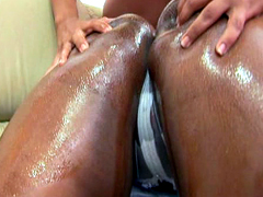 Two oiled ebony cuties preparing for new sex adventures