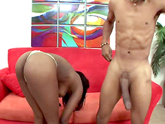 Vanessa Blue has a juicy, big black ass, but this guy has a huge, fat black dick. They are made..
