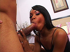 Young black slut grabs her tits while her shaved box get drilled