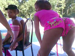 Three young girlfriends dancing