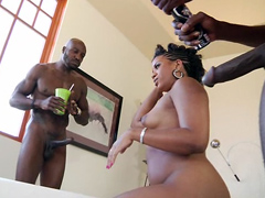 Big ebony woman Sydnee Capri begins the scene spreading her legs for two chaps. One chap sticks..