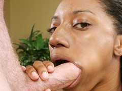 Belle sucks a white meat stick as she sticks a dildo up her twat. Belle D Leon